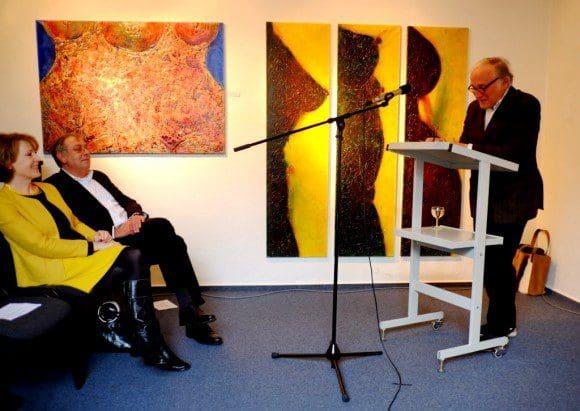 Professor Udo Scheel bei seiner Laudatio in Bocholt - Foto: K-H. Schmalzried, 2015