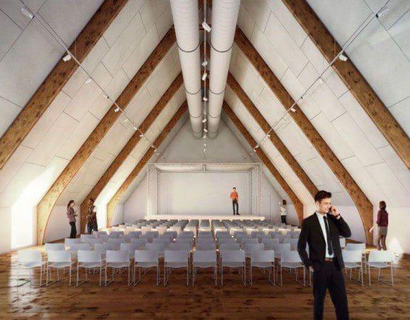 Mögliche Ansicht des großen Veranstaltungsraums im OG der Vorburg. Foto: Pfeiffer_Ellermann_Preckel Architekten und Stadtplaner BDA; Visualisierung: SICKNIFIKANT Architektur & Mediengrafik