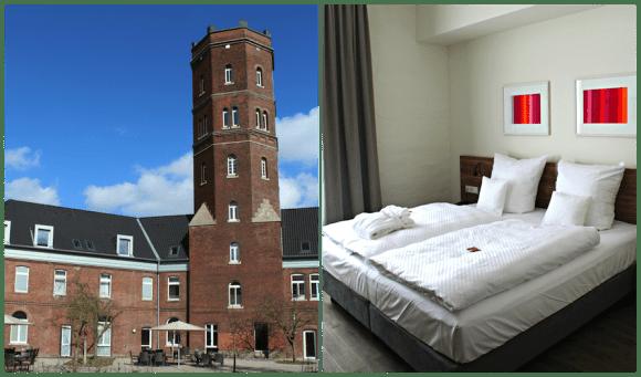 Innen- und Außenansicht des Hotel am Wasserturm