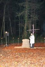 Pfarrer Reinhard Edeler bei der Hubertusmesse an der Wengerner Mühle