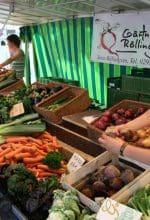 Bunter Bauernmarkt mit regionalen Produkten