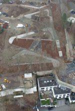 Blick aus der Vogelperspektive auf die aktuellen Sanierungsarbeiten im Schlosspark Siegen